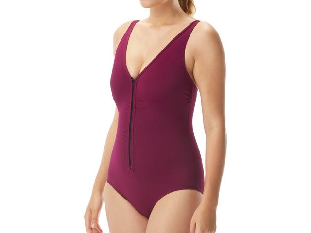 TYR Solids V-Neck Zip Controlfit Swimsuit Women burgundy